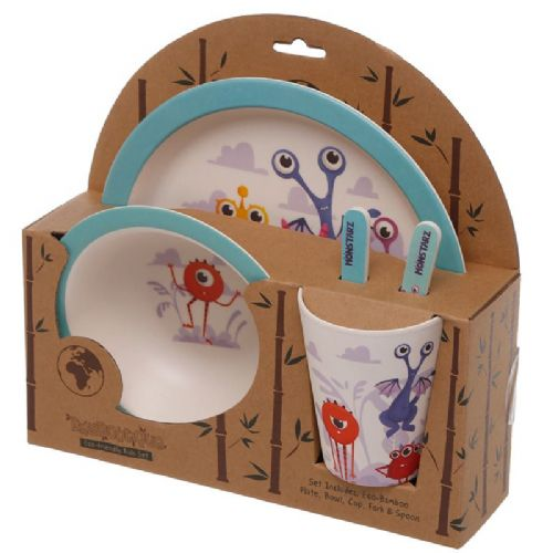 Bambootique Eco Kids Dinner Set, Monstarz Design
